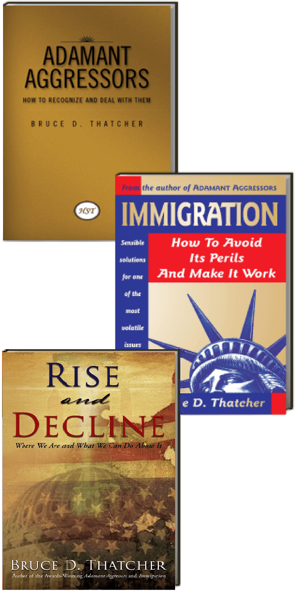 HST Book covers for Adamant Aggressors, Immigration, and Rise and Decline
