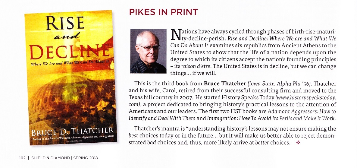 Pikes in Print article featuring Bruce Thatcher's book about the rise and decline of nations